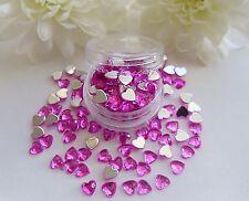 3D Nail Art 'Deep Pink' 4mm Rhinestone Hearts Pot Flat Back Gems  app 100pc Tips