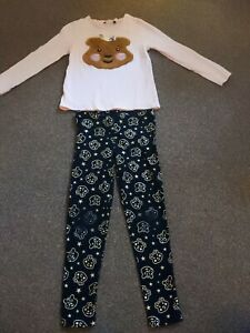 Girls Children In Need Blush/Pudsey Bear Long Sleeve Top And Leggings Age 7-8...