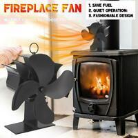 4 Blade Heat Powered Stove Fan Log Wood Burner Eco Friendly Fireplace Fan Quiet