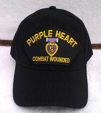 PURPLE HEART COMBAT WOUNDED  (BLACK) Military Veteran Hat 393  MTEB