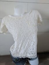 Poof white floral crop top shirt size m
