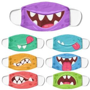 Kids Children Funny Cartoon Print Cotton Mask Protection Face Masks Reusable