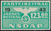 Stamp Germany Revenue WWII 1943 3rd Reich War Era Party Dues 123.60 MNG