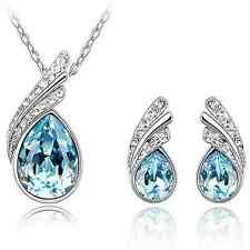 Art- und Weisefrauen-Kristallrhinestone Halsketten-Ohrring-Schmucksache-Satz neu