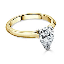 Pear Cut Diamond Engagement Rings Solid Real 14K Yellow Gold Size M P 1/2 O