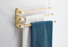 New Wall Mounted Brushed Gold 3 Bars Towel Bar Brass Bathroom Accessories Rail