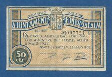 AJUNTAMENT DE FONTS DE SACALM -- 50 CENTIMOS ( 1937 ) -- MBC- -- 1ª EMISION .
