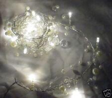 2M Ivory Beaded Garland 20 Warm White LED Lights (L71)