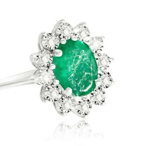 9ct White Gold Diamond and Emerald Cluster Ring Boxed Gift UK Size N