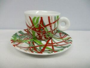 1996 ILLY JAMES ROSENQUIST ITALIAN RIVIERA REA GREEN ESPRESSO CUP & SAUCER