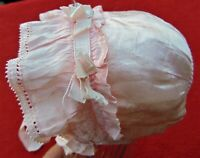 ANTIQUE ~ BEAUTIFUL BABY GIRL'S PINK SATIN LINED BONNET WITH TIES