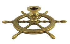 """7.5"""" Solid Brass Ship Wheel Candle Holder"""