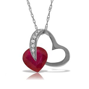 Genuine Ruby Gem & Diamonds Heart Pendant Necklace 14K. Yellow, White, Rose Gold