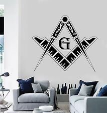 Wall Stickers Vinyl Decal Masonic Square and Compass Freemasons (z1158)