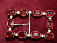 VINTAGE ART DECO LARGE RUBY COLOURED PASTE BUCKLE ~ OPEN BACKED ~ 1930's