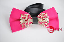 Mens Hot Pink Crystal Diamond Looks Design Bow Tie Bowties Wedding Party Ball