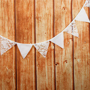 White Lace Bunting Pennant Flag Banner Garland Show Party Decorative Accessory