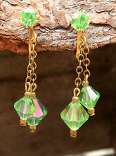 Earrings Drop Vintage 1960s Green Evening Clip-On Retro Jewellery 60s Jewelry