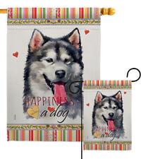 Alaskan Malamute Happiness Garden Flag Animals Dog Decorative Yard House Banner