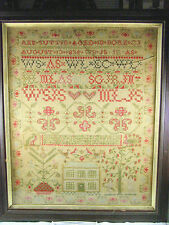 Large 1845 Ann Suttie Sampler on Homespun - with House, Adam & Eve, etc. -Framed