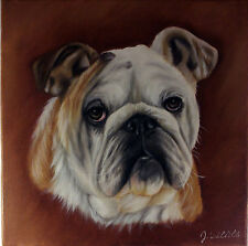 Original Oil Painting On Canvas Of English Bull Dog