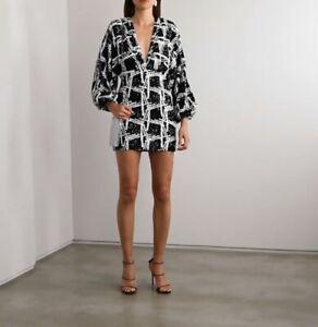 Retrofete Aubrielle Dress Size M Black And White