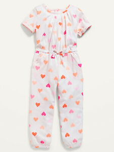 Old Navy Girl Hearts Jersey Jumpsuit Romper Size 12-18M 18-24M 2T 3T 4T or 5T
