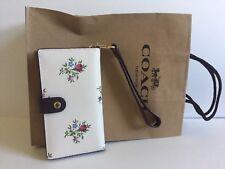 NWT COACH Cross Stitch Floral Print Chalk Phone Wristlet Wallet 25679 Snap Close