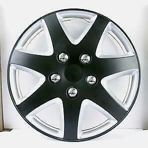 """QUALITY 15"""" GEARX WHEEL COVERS MATT BLACK AND SILVER TRIM SET OF 4"""