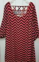 NEW Women's Plus Size 3/4 sleeve Orange & Blue Chevron Print Dress - 3X