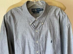 RALPH LAUREN BLAKE Fit Blue Woven Short Sleeve Button Up Shirt Size Sz XXL NWOT