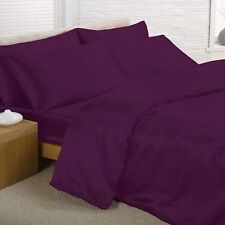 PURPLE SATIN SINGLE DUVET COVER, FITTED SHEET, 2 x PILLOWCASES SET