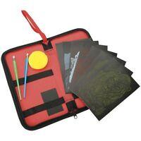 6 ENGRAVING ART SCRAPER FOIL PICTURES & TOOLS ACTIVITY SET &  ZIP CASE BK-KCEA