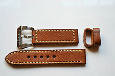 Genuine Calf leather 24mm strap with 316 S/S submarine  buckle  good handfeel