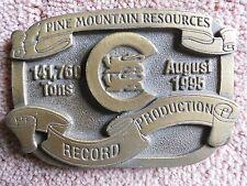 VINTAGE RARE BRASS BUCKLE PINE MTN RESOURCES AUGUST 1995