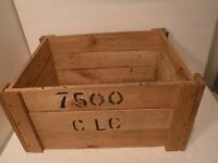 Solid Wood Storage / Decor Box Crate Wood Slat  Construction Numbered Sides