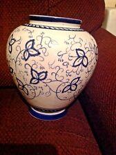 "Decorative Ceramic Flower Vase 10""H x 25""D Blue Floral Pattern"