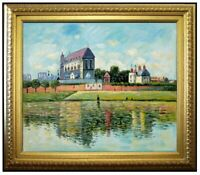 Framed, Monet View of Church at Vernon Repro, Hand Painted Oil Painting, 20x24in