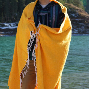 Mexican Blanket Baja Surf Serape Boho Falsa Throw Yoga Mat Beach Towell - Yellow