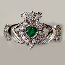 Heart Shape Emerald & Natural Diamond Claddagh Ring 14k White Gold Free Size NEW