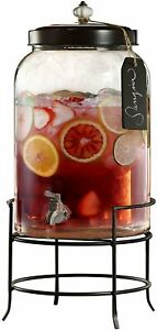 Style Setter 210235-GB 3 Gallon Glass Beverage Drink Dispensers with Metal...