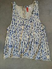 BLUE /BEIGE SLEEVELESS TOP WITH ZIP AT BACK & WIDE CUT LOOSE END - 10 FROM H&M