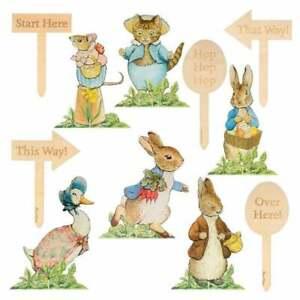 MERI MERI Peter Rabbit Easter Egg Hunt Kit 6 Characters & 6 Etched Wooden Stakes