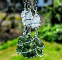 MOLDAVITE & SELENITE Pendant Necklace Tektite Crystal 925 Satin Spar Synergy 12