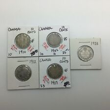 Canada 1902 H 1910 1912 1917 1933 10 Cents Silver Dimes Lot of 5 Better Dimes