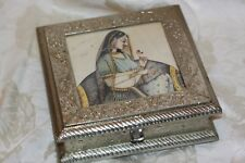 Vintage Wood Hand Tooled India Foil Treasure Jewelry Trinket Box
