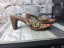 George Miu 39 (8.5/9) Beige Loop Flower Striped Leather Thong Heel Slide Sandals