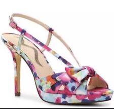 Nina Felita floral abstract bow slingback multi-color slingback strappy heels