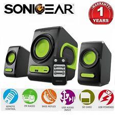Computer PC Speaker SonicGear QuatroV USB FM Radio Subwoofer 2.1 Bluetooth Green
