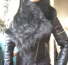 "Sass & Bide ""Power of Will"" Shearling Fur Lamb Leather Shawl Wrap Collar"